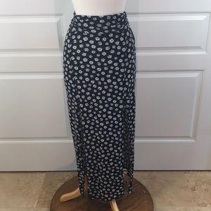 No Boundaries Floral Print Split Front Maxi Skirt